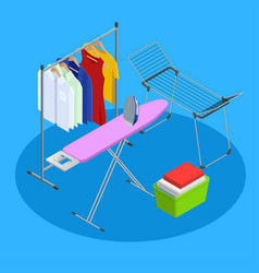 Isometric iron ironing board and laundry basketf vector