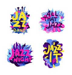 Jazz theme composition set vector