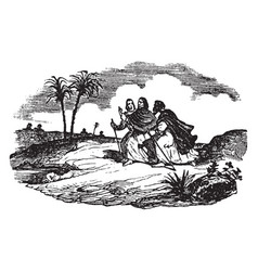 Jesus appears on the road to emmaus vintage vector