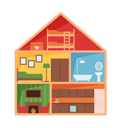Kids toy cute house isolated vector