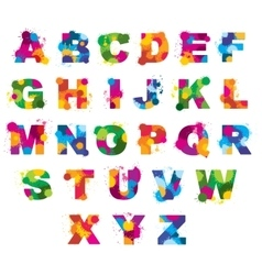 Letters alphabet painted by color splashes vector