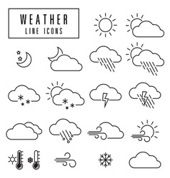 Line icons weather vector