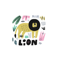 lion hand drawn vector image