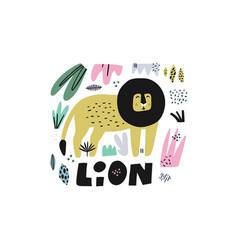 Lion hand drawn vector