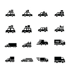 logistics and transport icons vector image