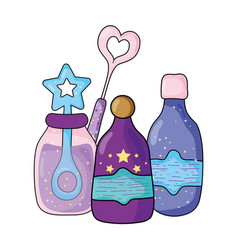 magic potion bottles with wand vector image