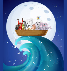 many wild animals on boat at night vector image