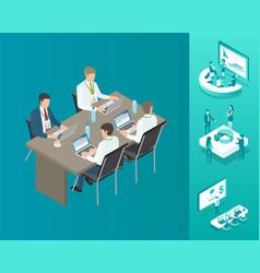 Meeting businessmen set vector
