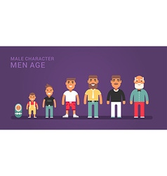Men age generations life stages of web banner vector