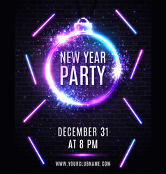new years eve party poster christmas decoration vector image