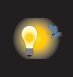 Night butterfly flies to a glowing electric vector