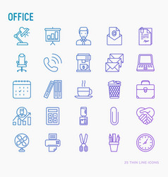 office thin line icons set vector image