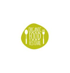 Organic food festival logo template design vector