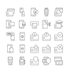 Pay on line and mobile banking outline icons vector