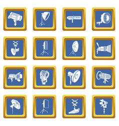 photography icons set blue square vector image