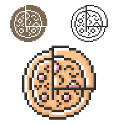 Pixel icon pizza in three variants fully vector