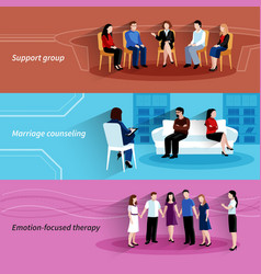 Relationship counseling therapy flat banners set vector image