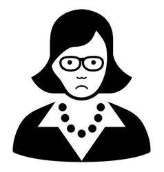 Sad teacher lady black icon vector