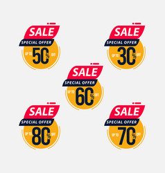 Sale special offer up to 30 50 60 70 80 off vector