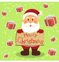 Santa Merry Xmas Gift in Green vector image vector image