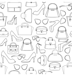 Seamless pattern of bags and shoes vector image