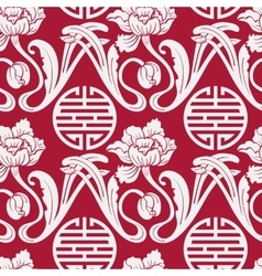 Seamless pattern of Chinese symbols and flowers vector