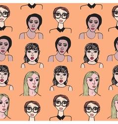 Seamless pattern with cartoon girls vector