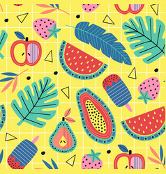 seamless pattern with fruit and plants vector image