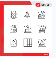 Set 9 outlines on grid for oscar award adobe vector