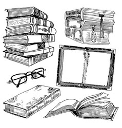 Set books sketch vector