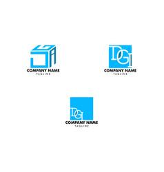 set initial letter dgi logo design template vector image