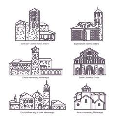set isolated churches montenegro andorra vector image