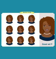 set of black woman expressionbusinesswoman vector image