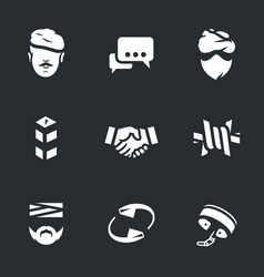 set of fight against terrorism icons vector image