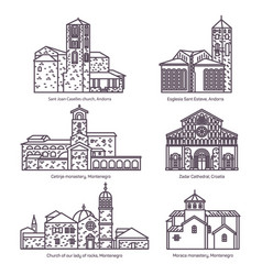 set of isolated churches of montenegro andorra vector image