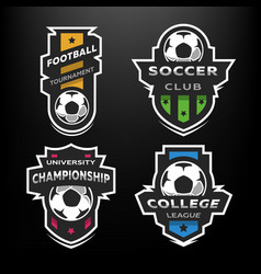 Set soccer football logo emblem vector