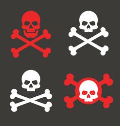 skull crossbones icon warning danger pirate vector image