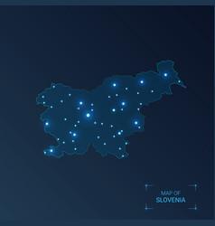 Slovenia map with cities luminous dots - neon vector