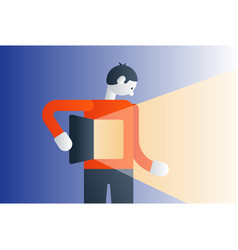 Standing man gut feeling creative thinking concept vector