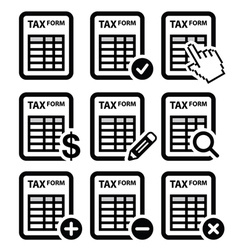 Tax form taxation finance icons set vector image