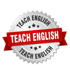 Teach english round isolated silver badge vector
