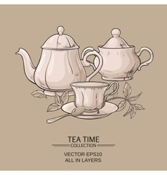Teapot with cup and sugar bowl vector image