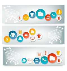 Three Shopping banners with colorful icons vector image