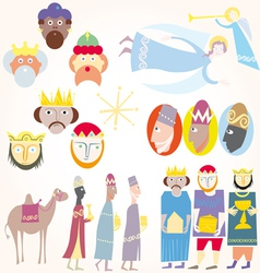 three wise men christmas set vector image