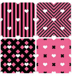 Tile pattern hearts on pink and black background vector