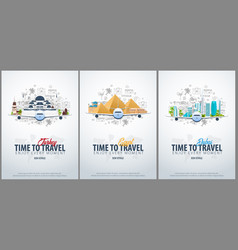 Travel to turkey egypt and dubai time to travel vector