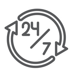 twenty four hour line icon open and service 24 vector image