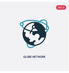 two color globe network icon from web hosting vector image