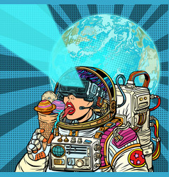 virtual reality woman astronaut and space dreams vector image