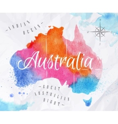 Watercolor map Australia pink blue vector image